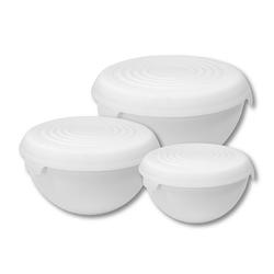 Miski plastikowe z pokrywkami practic białe, komplet 3 misek