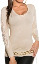 Beżowy sweter z koronką | swetry damskie, 1401