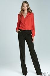 Czarne Eleganckie Długie Spodnie z Mankietem