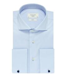 Elegancka błękitna koszula męska taliowana SLIM FIT z mankietami na spinki 40
