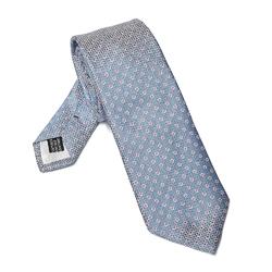 Elegancki DŁUGI błękitny krawat Van Thorn w różowe kropki