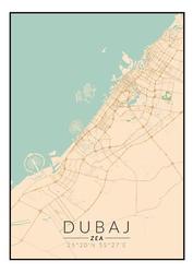 Dubaj mapa kolorowa - plakat wymiar do wyboru: 20x30 cm
