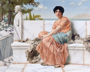 Reprodukcja reverie a.k.a. in the days of sappho, william godward