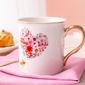 Kubek do kawy i herbaty porcelanowy ze złotym uchem altom design romantic 250 ml, dekoracja  b