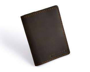 Skórzany cienki portfel slim wallet z bilonówką brodrene sw04 ciemnobrązowy - c. brązowy