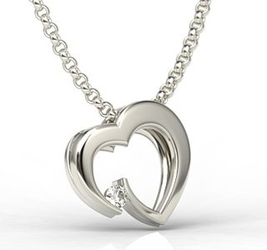 Wisiorek z białego złota w kształcie serca z diamentem lpw-95b