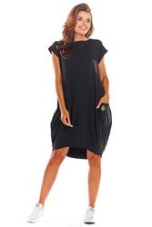 Oversizowa czarna sukienka z dużymi kieszeniami