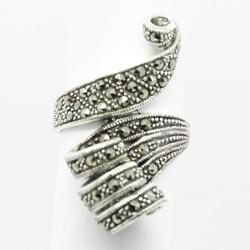 Roxy srebrny pierścionek z markazytami, duży