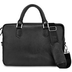 Skórzana torba na laptopa solier sl22 czarna - czarny