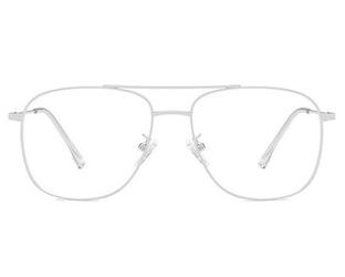 Srebrne okulary pilotki zerówki filtr blue light do komputera 2547-2