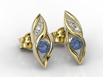 Kolczyki z żółtego złota z szafirami i diamentami apk-51z-r