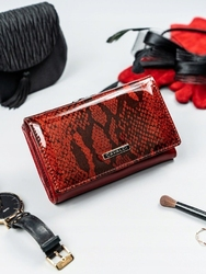 Stylowy portfel damski czerwony cavaldi pl23-sn - czerwony