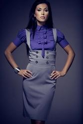 Ciemno fioletowa elegancka bluzka z kokardkami