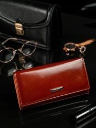Skórzany portfel damski brązowy lorenti 72401 - brązowy