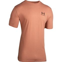 Koszulka męska under armour sportstyle left chest ss - brązowy