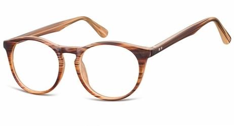 Oprawki korekcyjne okrągłe lenonki zerówki sunoptic cp146f brązowy - imitacja drewna