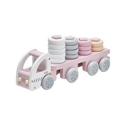 Drewniana ciężarówka z klockami kids concept - różowa