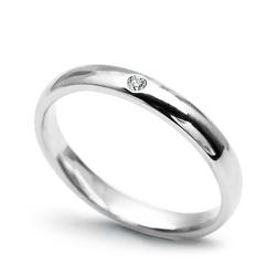 Staviori obrączka z diamentem o szlifie brylantowym z białego złota 0,585.