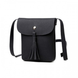 Mała, skórzana torebka + frędzel czarna
