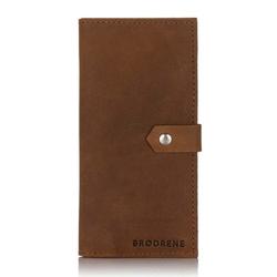 Skórzany damski portfel slim etui na karty i telefon brodrene sw09 jasny brąz