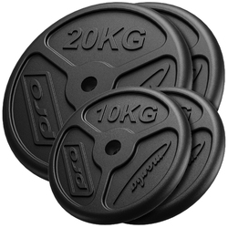 Zestaw obciążeń żeliwnych slim 60 kg  2 x 20 kg + 2 x 10 kg mw-2x20kg_2x10kg-slim - marbo sport