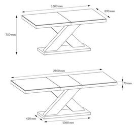 Stół rozkładany w wysokim połysku xenon z białym blatem na białej nodze
