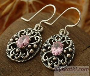 MARGE - srebrne kolczyki z różowym kryształem