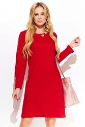 Czerwona kobieca sukienka z długim ozdobnym rękawem