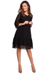Czarna zwiewna sukienka z falbankami i koronką