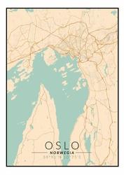 Oslo mapa kolorowa - plakat Wymiar do wyboru: 59,4x84,1 cm
