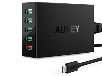 Ładowarka sieciowa aukey pa-t15 5xusb 54w 10.2a quick charge 3.0 czarna