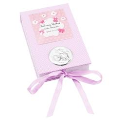 Sztućce dziecięce w pudełku różowe pamiątka chrztu grawer - pudełko z aniołkiem różowe