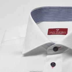 Elegancka biała koszula slim fit z granatowymi guziczkami i wstawkami w kratkę 39