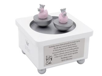 Pozytywka z kaczuszkami prezent chrzest dedykacja - pozytywka z kaczuszkami różowa