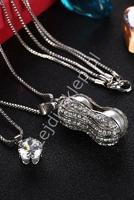 Naszyjnik fasolka ze sztucznymi perełkami i kryształkami