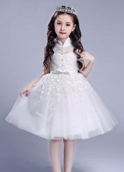 Biała sukienka dla dziewczynki tiulowo koronkowa ze stójką na komunię, chrzciny, na sypanie kwiatków