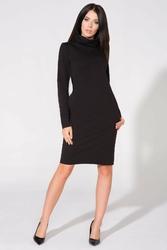 Czarna sukienka dresowa z golfem