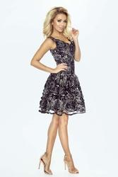 Czarna efektowna rozkloszowana sukienka koronkowa ze złotą nicią