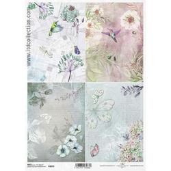 Papier ryżowy ITD A4 R1059 kwiaty retro
