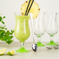 szklanki do drinków, koktajli z zieloną stopką - zestaw 12 el. 6 szkl. + 6 łyż.