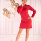Wizytowa czerwona sukienka z koronkowym karczkiem
