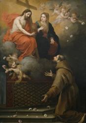 Reprodukcja vision de san francisco en la porciuncula, bartolome esteban murillo