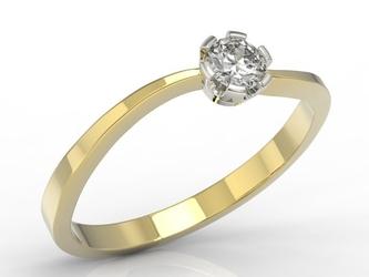Pierścionek zaręczynowy z żółtego i białego złota z brylantem lp-8718zb