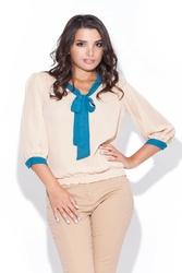 Stylowa beżowa bluzka z kokardą rękaw 34