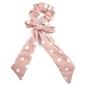 Gumka scrunchie apaszka kokarda pudrowy róż kropki