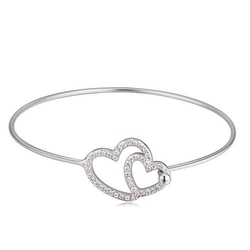 Exclusive bransoletka sztywna serce srebrna - srebrna