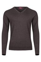 Czekoladowy sweter męski z wełny merino w serek  xxs