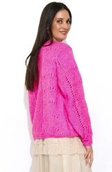 Luźny różowy sweter z ażurowym wzorem