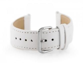 Pasek skórzany do zegarka w30 - w pudełku - biały - 24mm
