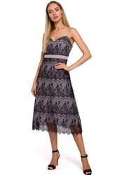 Wieczorowa szara sukienka koronkowa na cienkich ramiączkach